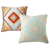 Pillows - Boho Boutique Utopia 2 pack Pillows I Target - red blue and gold pillow, aqua blue and gray pillow,