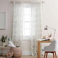 Window Treatments - Pinwheel Linen Window Panel - Stone White / Slate | west elm - patterned linen window panel, patterned sheers, white and gray patterned window panel,