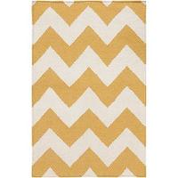 Rugs - Chevron Golden Yellow Wool Rug (8' x 11') | Overstock.com - yellow and white chevron rug, yellow chevron rug, yellow and white geometric rug, yellow and white zigzag rug,