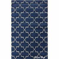 Rugs - Handmade Luna Moroccan Trellis Wool Rug (7&#039;6 x 9&#039;6) | Overstock.com - blue moroccan rug, blue and white moroccan rug, moroccan trellis rug, royal blue trellis rug,