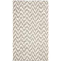 Rugs - Chevron Dhurrie Grey/ Ivory Wool Rug (5' x 8') | Overstock.com - gray and ivory chevron rug, gray chevron rug, gray and ivory geometric rug, gray and ivory zigzag rug,