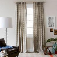 Window Treatments - Circle Stitch Printed Window Panel - Plaster | west elm - interlocking circle window panel, gray interlocking circle window panel, gray window panels,