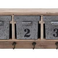 Decor/Accessories - Counted Storage Shelf with Hooks | HomeDecorators.com - wooden storage shelf with metal bins, numbered metal bin storage shelf, storage shelf with hooks and metal bins,