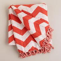 Decor/Accessories - Orange and White Chevron Throw | World Market - orange and white chevron throw, orange chevron throw, orange and white cotton chevron throw,
