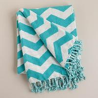 Decor/Accessories - Turquoise and White Chevron Throw | World Market - turquoise and white chevron throw, turquoise chevron fringed throw, turquoise chevron cotton throw,