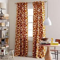 Window Treatments - Ironwork Flocked Window Panel - Ochre | west elm - flocked window panel, ochre patterned window panel, linen drapes with ochre pattern,