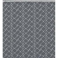 Bath - maze shower curtain | CB2 - gray shower curtain, geometric gray shower curtain, gray and white shower curtain,