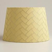 Lighting - Lime Geo Stitch Accent Lamp Shade | World Market - yellow lamp shade, yellow embroidered lamp shade,