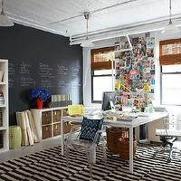 Erin Gates Design - dens/libraries/offices - office, chic office, chalkboard wall, ikea expedit shelving unit, white expedit, expedit shelving unit, ikea desks, overstock desk chairs, overstock task chairs, black and white rug, striped rug, black and white striped rug,
