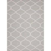 Rugs - Handmade Flat Weave Moroccan Wool Rug (8' x 10') | Overstock.com - gray and cream geometric rug, gray moroccan rug, gray and cream moroccan rug,