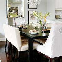 Style at Home - dining rooms - dining room, chic dining room, beaded beveled floor mirror, dining room mirror, dining room floor mirror, dining art, rectangular dining table, black dining table, rectangular black dining table, side dining chairs, cream dining chairs, tufted dining chairs, cream tufted dining chairs, captain chairs, gray dining chairs, gray captain chairs, gray velvet captain chairs, gray velvet dining chairs, uttermost chandeliers, uttermost fascination chandelier,