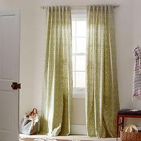 Window Treatments - Circle Stitch Printed Window Panel - Green Tea | west elm - interlocking circle window panel, green tea window panel, green patterned window panel,