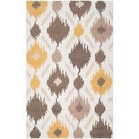 Rugs - Hand-hooked Gold Benton Rug (5&#039; x 8&#039;) | Overstock.com - yellow taupe and white ikat rug, yellow taupe and white rug, yellow taupe and white patterned rug,