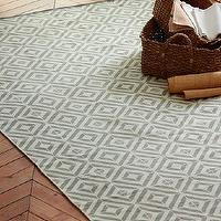 Rugs - Square Tile Block-Printed Cotton Dhurrie | west elm - gray dhurrie rug, gray tile block printed rug, tile-block printed dhurrie rug, gray tile patterned rug,