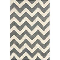 Rugs - Handmade Chevron Dark Grey/ Ivory Wool Rug (4&#039; x 6&#039;) | Overstock.com - gray chevron rug, gray and ivory chevron rug, gray and ivory geometric rug, gray and ivory zigzag rug,