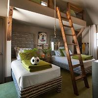 HGTV - boy's rooms - boys bedroom, boys bunk room, boys bunk bed, built-in bunk bed, loft bed, loft bunk, bunk room, loft bunk bed, bunk bed, twin beds, pair of twin beds, upholstered twin beds, gray and white zigzag upholstered beds, zigzag upholstered beds, block print pillows, gray and white block print pillows, green pillows, moss green pillows, green coverlet, green blanket, white coverlet, green desk lamp, adjustable desk lamp, dog art, bull dog art, latte walls, latte wall color, green carpet, white curtains, white drapes, bunk bed ladder, rustic bunk bed ladder, paisley block print pillow, vaulted ceilings, brown and green boys room, brown and green boys bedroom loft space, boys loft space,