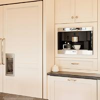 Lewis and Weldon - kitchens - white kitchen, white kitchen cabinets, white kitchen cabinetry, brushed nickel hardware, brushed nickel cabinet pulls, cabinet fronted fridge, cabinet fronted refrigerator, concealed fridge, concealed refrigerator, paneled fridge, paneled refrigerator, coffee station, built-in coffee station, built-in coffee maker, miele coffee maker, built-in miele coffee maker, granite counters, granite countertops, gray granite counters, gray granite countertops, built in coffee machine,