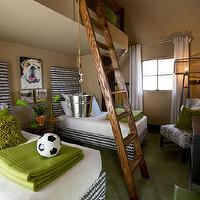 HGTV - boy's rooms - boys bedroom, boys bunk room, boys bunk bed, built-in bunk bed, bunk bed, twin beds, pair of twin beds, upholstered twin beds, gray and white zigzag upholstered beds, zigzag upholstered beds, block print pillows, gray and white block print pillows, green pillows, moss green pillows, green coverlet, green blanket, white coverlet, green desk lamp, adjustable desk lamp, dog art, bull dog art, latte walls, latte wall color, green carpet, white curtains, white drapes, bunk bed ladder, rustic bunk bed ladder, dresser, rope lamps, knotted rope lamps, block print chair, paisley block print chair, gray and white paisley block print chair, industrial floor lamp, metal floor lamp, paisley block print pillow, loft bed, loft bunk, bunk room, loft bunk bed, brown and green boys room, brown and green boys bedroom,