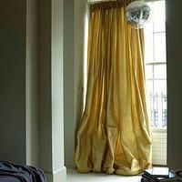 Rose Uniacke - bedrooms - greige walls, greige wall color, yellow drapes, yellow curtains, yellow silk drapes, yellow silk curtains, floor length drapes, floor length curtains, floor length yellow drapes, floor length yellow curtains, sash windows, double hung windows, double hung sash windows, mirror ball, disco ball, mirrored disco ball,