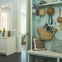 Martha O&#039;Hara Interiors - laundry/mud rooms - Benjamin Moore - Forget Me Not - mudroom, mud room, mudroom storage, built-in mudroom storage, mudroom built-ins, mudroom bench, built-in mudroom bench, tiled floors, mudroom off kitchen, office mud room, built-in desk, mud room storage, striped wallpaper, aqua blue striped wallpaper, beachy mud room, coastal mud room, beach inspired mud room, coastal inspired mud room, built-in bench, built-in mud room bench, built-in mudroom storage bench, overhead cubbies, storage cubbies, storage bench,