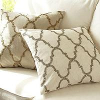 Pillows - Rustic Luxe Sequin Tile Pillow Cover | Pottery Barn - beaded tile pillow, geometric beaded tile pillow, sequined tile geometric pillow,
