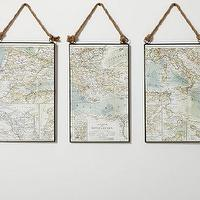 Art/Wall Decor - Map Triptych | Pottery Barn - map triptych, rope map triptych, rope hung map art, map art,