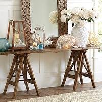 Tables - Sawhorse Console Table | Pottery Barn - sawhorse console, sawhorse console table, wooden sawhorse console, wooden trestle console table,
