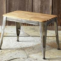 Seating - Teagan Teak Stool | Pottery Barn - teak stool, metal based teak stool, slatted teak step stool,