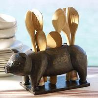 Decor/Accessories - Pig Flatware Caddy | Pottery Barn - pig flatware caddy, pig utensil caddy, piggy flatware caddy,