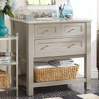 Bath - Classic Single Sink Console - Gray | Pottery Barn - single sink console, gray single sink console, gray marble topped single sink console,