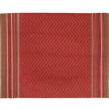 Rugs - Zig-Zag Recycled Yarn Indoor/Outdoor Rug - Warm | Pottery Barn - red zigzag rug, red chevron rug, red zigzag outdoor rug, red chevron outdoor rug,