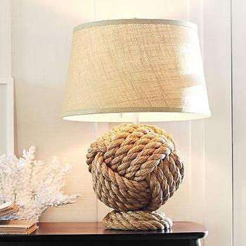 Lighting - Rope Knot Table Lamp Base | Pottery Barn - rope knot lamp, knotted rope lamp, nautical rope lamp,