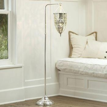 Lighting - Geena Floor Lamp | Pottery Barn - etched silver floor lamp, openwork silver floor lamp, laced openwork floor lamp,