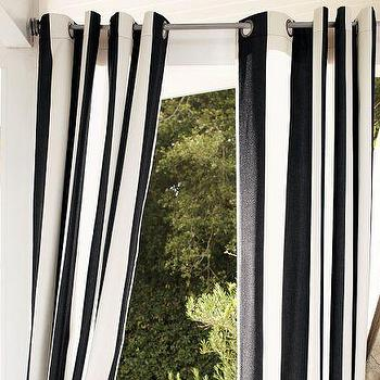 Window Treatments - Sunbrella Outdoor Grommet Drape | Pottery Barn - black and white outdoor drapes, striped black and white outdoor drapes, black and white striped outdoor grommet drapes,