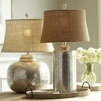 Lighting - Geena Table Lamp Bases | Pottery Barn - antiqued silver silver, antique silver botanical etched lamp, antique-silver etched lamps,