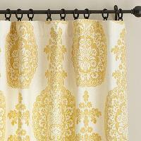 Window Treatments - Lucianna Medallion Drape | Pottery Barn - yellow and ivory medallion drape, yellow medallion print drape, yellow and ivory medallion curtain, yellow medallion print curtain, yellow and ivory drape,