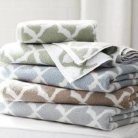 Bath - Marlo Jacquard Organic Bath Towels | Pottery Barn - blue moroccan tile bath towel, brown moroccan tile bath towel, green moroccan tile bath towel,