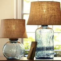 Lighting - Clift Glass Table Lamp Base - Light Blue | Pottery Barn - clift glass lamp, blue glass lamp, blue glass lamp with burlap shade, sea glass lamp,