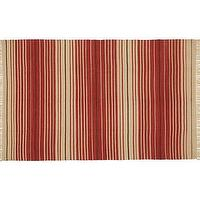Rugs - Dennis Stripe Recycled Yarn Indoor/Outdoor Rug - Terra Cotta | Pottery Barn - terracotta striped rug, terracotta striped and beige rug, terracotta stripe outdoor rug,