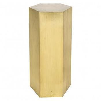Tables - CLEM TABLE | Jayson Home - hexagonal brass cube, hexagonal brass side table, hexagonal brass accent table,
