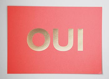 Art/Wall Decor - OUI Coral+Gold I MadeByGirl - oui art, coral and gold oui art, coral and gold oui art print,