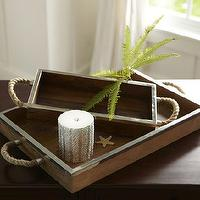 Decor/Accessories - Hyannis Rope Candle Trays | Pottery Barn - rope handled tray, rope handled candle tray, wooden tray with rope handles,