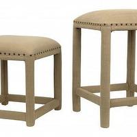 Seating - Otis Stools | Jayson Home - olive cotton upholstered stool with nailhead trim, upholstered backless stool with nailhead trim, upholstered backless barstool with nailhead trim,