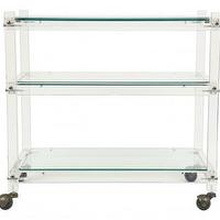 Tables - Keith Barcart | Jayson Home - acrylic barcart acrylic bar cart, acrylic bar cart on brass castors, acrylic barcart on castors,