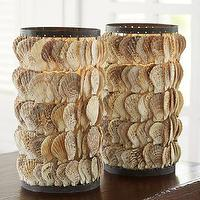Decor/Accessories - Shoreline Shell Hurricane | Pottery Barn - shell hurricane, seashell hurricane, shell lantern,