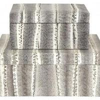 Decor/Accessories - Snakeskin Boxes | Jayson Home - snakeskin box, snakeskin covered box, gray snakeskin box,