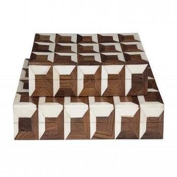 Decor/Accessories - Parquet Boxes | Jayson Home - inlaid boxes, inlaid box, inlaid wood and bone box,