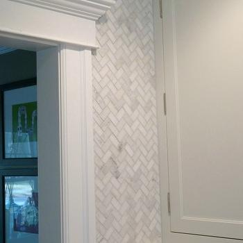 Marble Herringbone Backsplash, Transitional, kitchen, Sherwin Williams Nebulus White, Eclectically Vintage