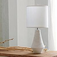 Lighting - Bennington Lamp | Serena & Lily - white marble lamp, white marble lamp with drum shade, lathed white marble lamp,