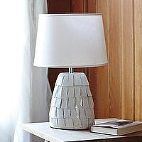 Lighting - Bolinas Ceramic Lamp White Shade | Serena & Lily - white ceramic lamp, textured white ceramic lamp, translucent white lamp,